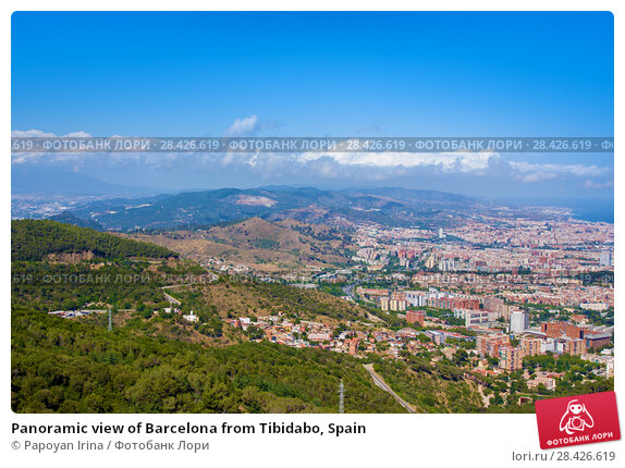 Купить «Panoramic view of Barcelona from Tibidabo, Spain», фото № 28426619, снято 13 июля 2016 г. (c) Papoyan Irina / Фотобанк Лори
