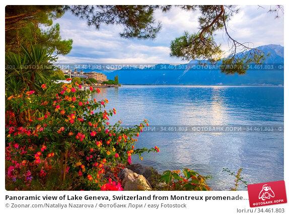 Panoramic view of Lake Geneva, Switzerland from Montreux promenade... Стоковое фото, фотограф Zoonar.com/Nataliya Nazarova / easy Fotostock / Фотобанк Лори