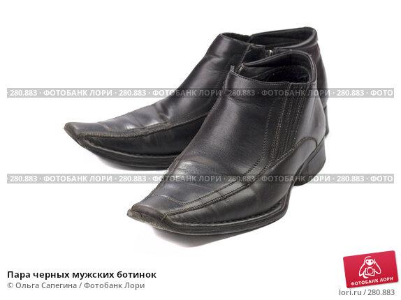 Пара черных мужских ботинок, фото № 280883, снято 23 марта 2008 г. (c) Ольга Сапегина / Фотобанк Лори