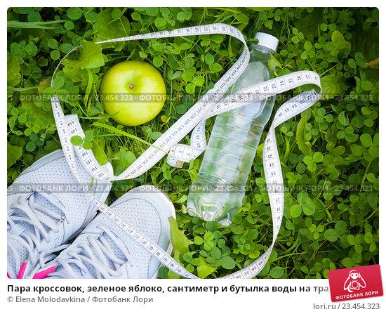 Купить «Пара кроссовок, зеленое яблоко, сантиметр и бутылка воды на траве», фото № 23454323, снято 29 июля 2016 г. (c) Elena Molodavkina / Фотобанк Лори