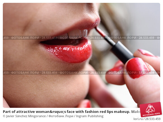 Купить «Part of attractive woman's face with fashion red lips makeup. Make-up artist apply bloody lipstick», фото № 28533459, снято 10 марта 2015 г. (c) Ingram Publishing / Фотобанк Лори