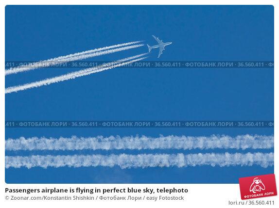 Passengers airplane is flying in perfect blue sky, telephoto. Стоковое фото, фотограф Zoonar.com/Konstantin Shishkin / easy Fotostock / Фотобанк Лори