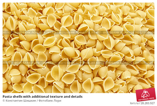 Купить «Pasta shells with additional texture and details», фото № 28283927, снято 9 апреля 2018 г. (c) Константин Шишкин / Фотобанк Лори
