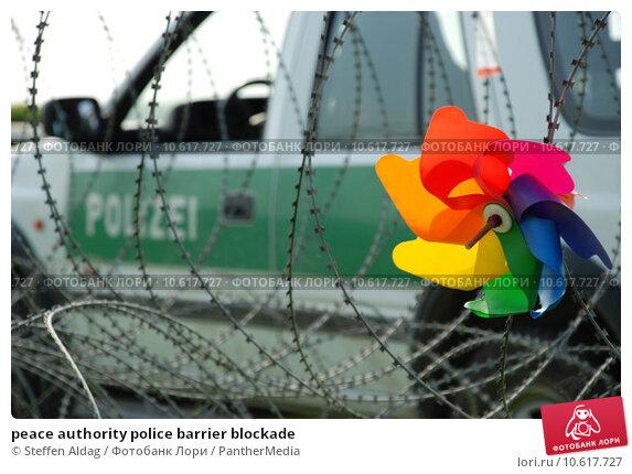 peace authority police barrier blockade. Стоковое фото, фотограф Steffen Aldag / PantherMedia / Фотобанк Лори