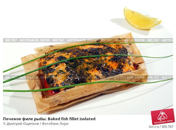 Печеное филе рыбы. Baked fish fillet isolated, фото № 309767, снято 29 мая 2008 г. (c) Дмитрий Ощепков / Фотобанк Лори
