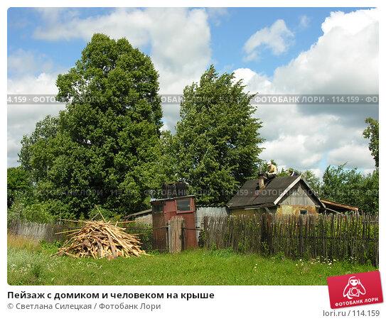 Купить «Пейзаж с домиком и человеком на крыше», фото № 114159, снято 21 июля 2007 г. (c) Светлана Силецкая / Фотобанк Лори