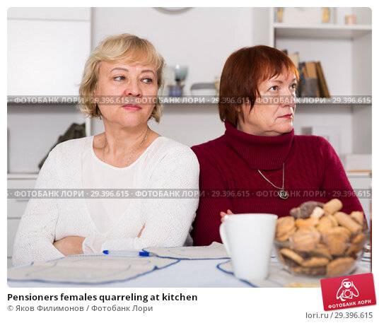 Купить «Pensioners females quarreling at kitchen», фото № 29396615, снято 22 ноября 2017 г. (c) Яков Филимонов / Фотобанк Лори