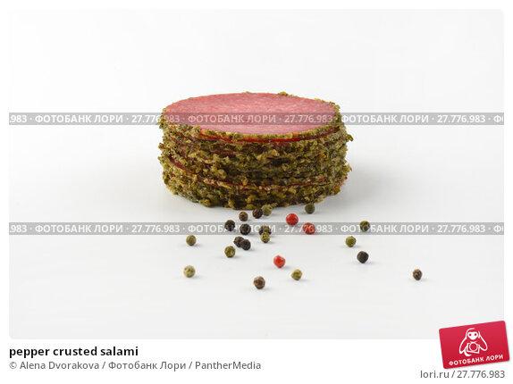 Купить «pepper crusted salami», фото № 27776983, снято 21 февраля 2019 г. (c) PantherMedia / Фотобанк Лори