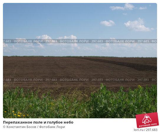 Перепаханное поле и голубое небо, фото № 297683, снято 22 июля 2017 г. (c) Константин Босов / Фотобанк Лори