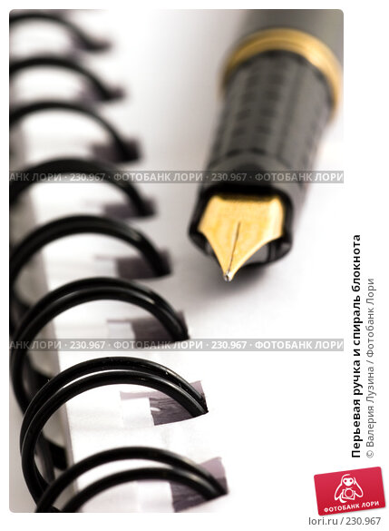 Перьевая ручка и спираль блокнота, фото № 230967, снято 14 марта 2008 г. (c) Валерия Потапова / Фотобанк Лори
