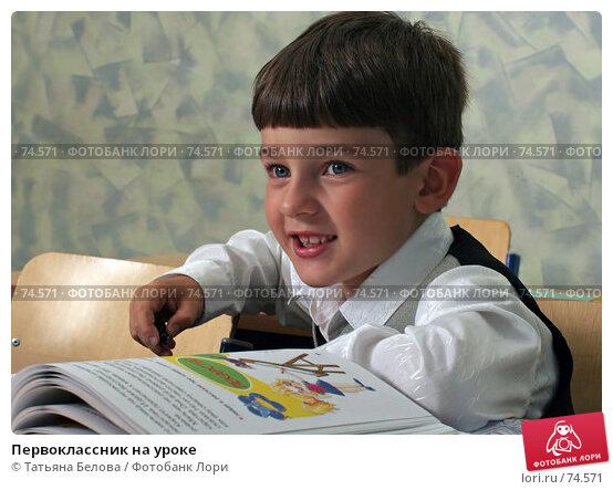 Первоклассник на уроке, фото № 74571, снято 19 августа 2007 г. (c) Татьяна Белова / Фотобанк Лори