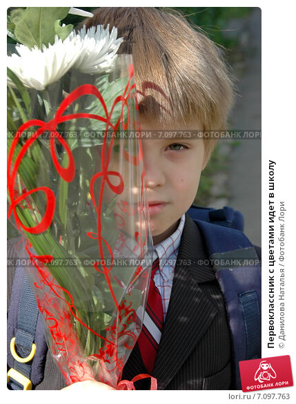 Купить «Первоклассник с цветами идет в школу», фото № 7097763, снято 1 сентября 2009 г. (c) Данилова Наталья / Фотобанк Лори