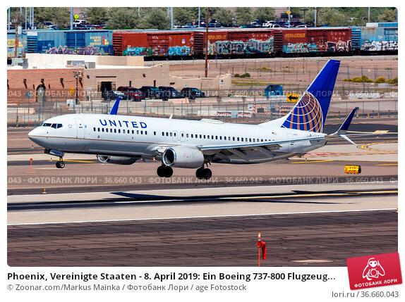 Phoenix, Vereinigte Staaten - 8. April 2019: Ein Boeing 737-800 Flugzeug... Стоковое фото, фотограф Zoonar.com/Markus Mainka / age Fotostock / Фотобанк Лори