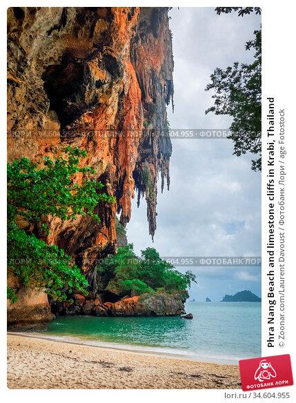 Phra Nang Beach and limestone cliffs in Krabi, Thailand. Стоковое фото, фотограф Zoonar.com/Laurent Davoust / age Fotostock / Фотобанк Лори