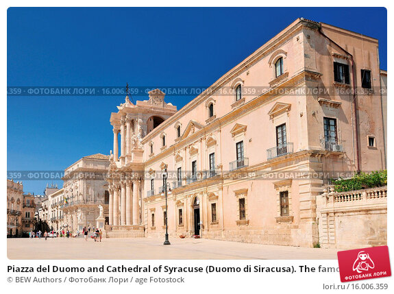 Купить «Piazza del Duomo and Cathedral of Syracuse (Duomo di Siracusa). The famous church in Syracuse Sicily Italy.», фото № 16006359, снято 19 апреля 2019 г. (c) age Fotostock / Фотобанк Лори