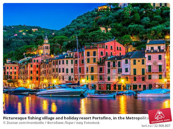Picturesque fishing village and holiday resort Portofino, in the Metropolitan City of Genoa on the Italian Riviera in Liguria, Italy. Стоковое фото, фотограф Zoonar.com/monticello / easy Fotostock / Фотобанк Лори