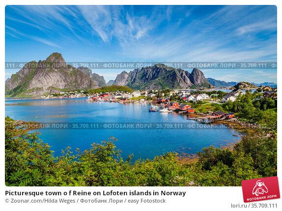 Picturesque town o f Reine on Lofoten islands in Norway. Стоковое фото, фотограф Zoonar.com/Hilda Weges / easy Fotostock / Фотобанк Лори