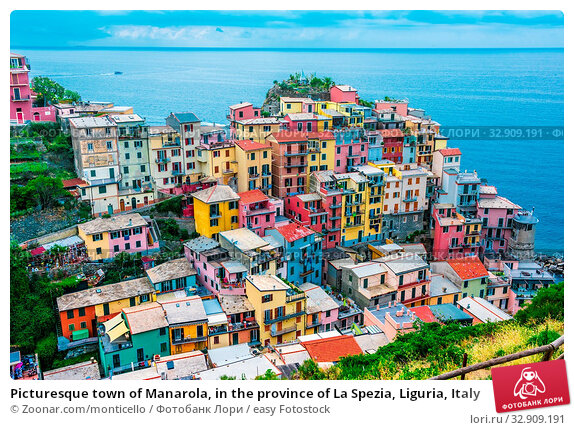 Picturesque town of Manarola, in the province of La Spezia, Liguria, Italy. Стоковое фото, фотограф Zoonar.com/monticello / easy Fotostock / Фотобанк Лори