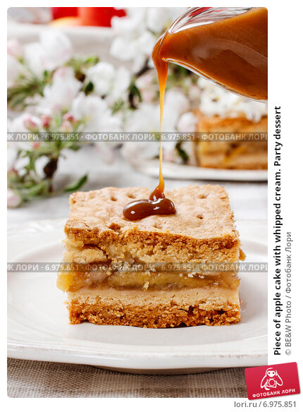 Piece of apple cake with whipped cream. Party dessert, фото № 6975851, снято 27 июля 2017 г. (c) Joanna Malesa / Фотобанк Лори