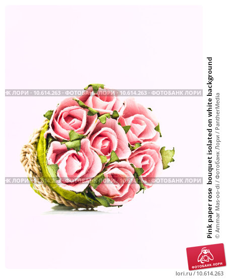Pink paper rose  bouquet isolated on white background. Стоковое фото, фотограф Ammar Mas-oo-di / PantherMedia / Фотобанк Лори