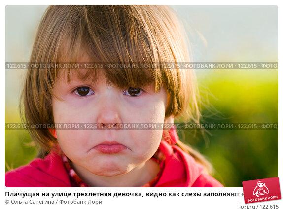 Купить «Плачущая на улице трехлетняя девочка, видно как слезы заполняют ее глаза», фото № 122615, снято 25 сентября 2007 г. (c) Ольга Сапегина / Фотобанк Лори