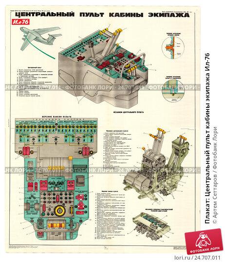 Плакат: Центральный пульт кабины экипажа Ил-76. Редакционная иллюстрация, иллюстратор Артем Сеттаров / Фотобанк Лори