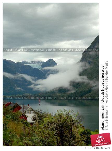 plant mountain clouds houses norway. Стоковое фото, фотограф Rita Sulejmani / PantherMedia / Фотобанк Лори