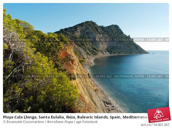 Купить «Playa Cala Llonga, Santa Eulalia, Ibiza, Balearic Islands, Spain, Mediterranean, Europe.», фото № 14901367, снято 18 июня 2018 г. (c) age Fotostock / Фотобанк Лори