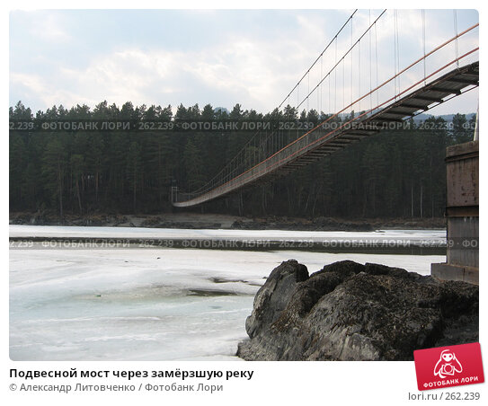 Подвесной мост через замёрзшую реку, фото № 262239, снято 12 апреля 2008 г. (c) Александр Литовченко / Фотобанк Лори