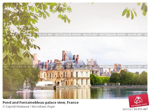Pond and Fontainebleau palace view, France (2017 год). Стоковое фото, фотограф Сергей Новиков / Фотобанк Лори