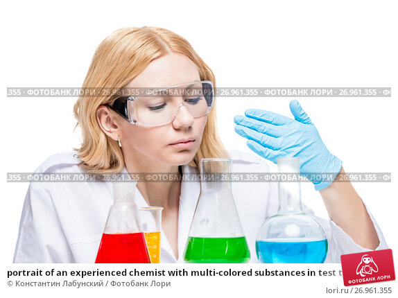 Купить «portrait of an experienced chemist with multi-colored substances in test tubes on a white background», фото № 26961355, снято 4 апреля 2017 г. (c) Константин Лабунский / Фотобанк Лори