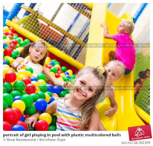 Купить «portrait of girl playing in pool with plastic multicolored balls», фото № 26703979, снято 15 июня 2019 г. (c) Яков Филимонов / Фотобанк Лори