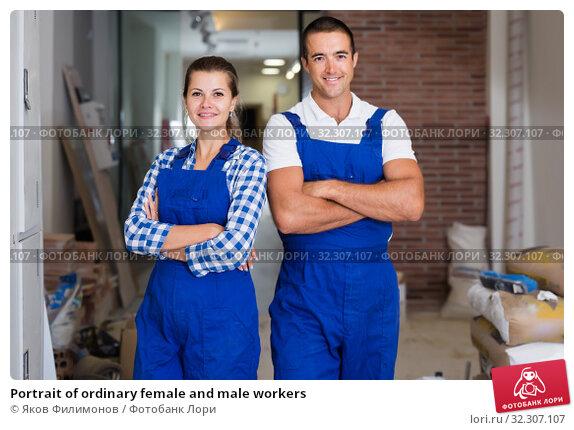 Купить «Portrait of ordinary female and male workers», фото № 32307107, снято 19 августа 2019 г. (c) Яков Филимонов / Фотобанк Лори