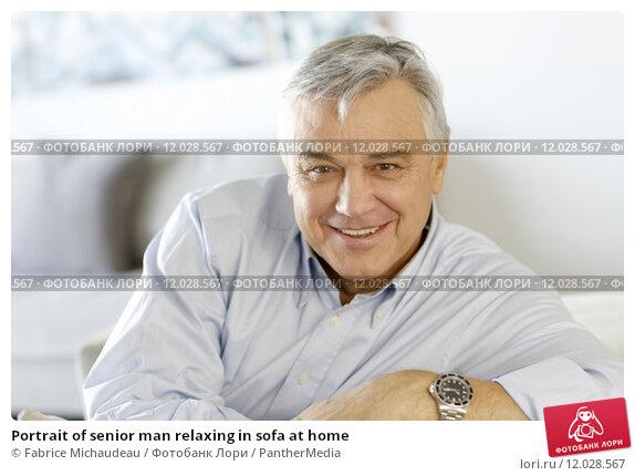 Купить «Portrait of senior man relaxing in sofa at home», фото № 12028567, снято 23 апреля 2019 г. (c) PantherMedia / Фотобанк Лори