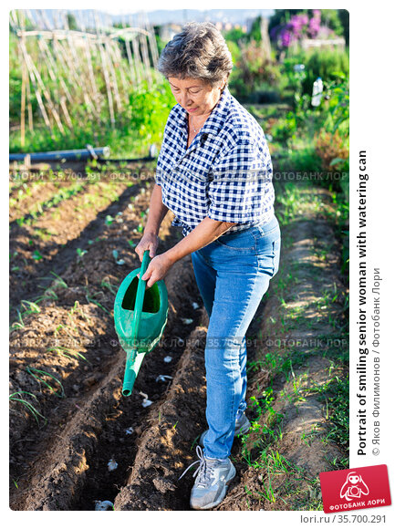 Portrait of smiling senior woman with watering can. Стоковое фото, фотограф Яков Филимонов / Фотобанк Лори