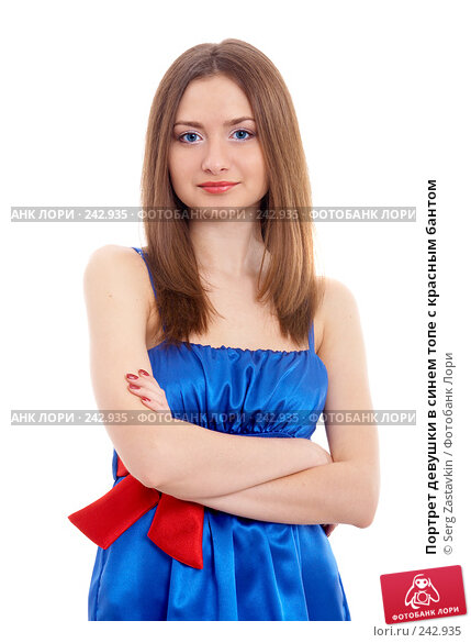 Портрет девушки в синем топе с красным бантом, фото № 242935, снято 2 февраля 2008 г. (c) Serg Zastavkin / Фотобанк Лори