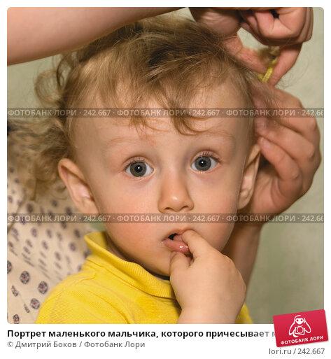 Портрет маленького мальчика, которого причесывает мама, фото № 242667, снято 1 мая 2006 г. (c) Дмитрий Боков / Фотобанк Лори