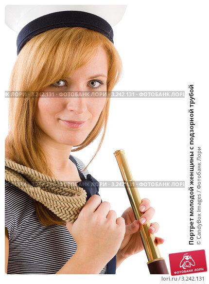 Купить «Портрет молодой женщины с подзорной трубой», фото № 3242131, снято 17 марта 2011 г. (c) CandyBox Images / Фотобанк Лори