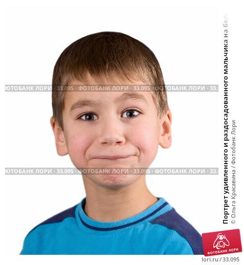 Купить «Портрет удивленного и раздосадованного мальчика на белом фоне», фото № 33095, снято 20 декабря 2006 г. (c) Ольга Красавина / Фотобанк Лори
