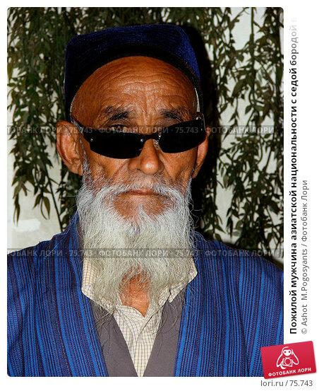 Пожилой мужчина азиатской национальности с седой бородой в синем халате и тюбетейке, фото № 75743, снято 26 июля 2007 г. (c) Ashot  M.Pogosyants / Фотобанк Лори