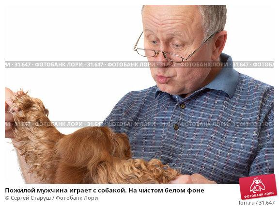 Пожилой мужчина играет с собакой. На чистом белом фоне, фото № 31647, снято 24 марта 2007 г. (c) Сергей Старуш / Фотобанк Лори