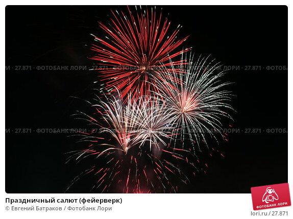 Купить «Праздничный салют (фейерверк)», фото № 27871, снято 26 августа 2006 г. (c) Евгений Батраков / Фотобанк Лори