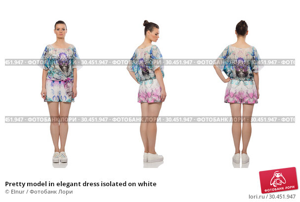 Pretty model in elegant dress isolated on white. Стоковое фото, фотограф Elnur / Фотобанк Лори
