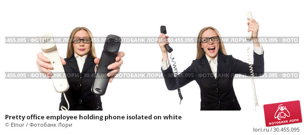 Pretty office employee holding phone isolated on white. Стоковое фото, фотограф Elnur / Фотобанк Лори