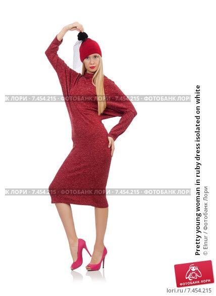 Купить «Pretty young woman in ruby dress isolated on white», фото № 7454215, снято 17 декабря 2014 г. (c) Elnur / Фотобанк Лори
