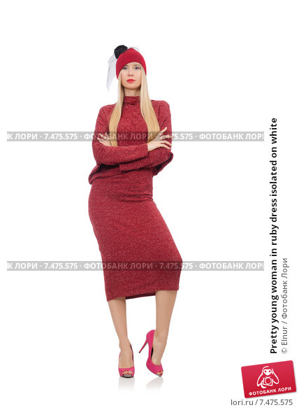 Купить «Pretty young woman in ruby dress isolated on white», фото № 7475575, снято 17 декабря 2014 г. (c) Elnur / Фотобанк Лори
