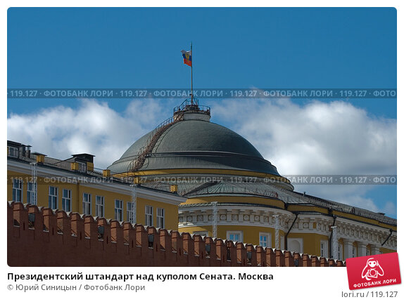 Президентский штандарт над куполом Сената. Москва, фото № 119127, снято 23 октября 2016 г. (c) Юрий Синицын / Фотобанк Лори