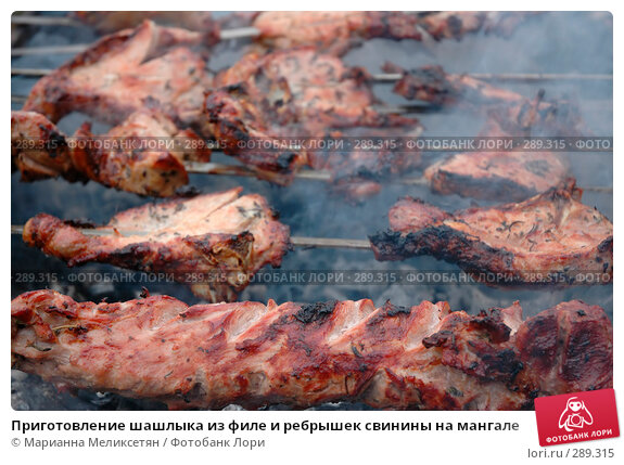 Купить «Приготовление шашлыка из филе и ребрышек свинины на мангале», фото № 289315, снято 12 апреля 2007 г. (c) Марианна Меликсетян / Фотобанк Лори