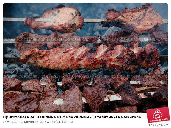 Купить «Приготовление шашлыка из филе свинины и телятины на мангале», фото № 289395, снято 12 апреля 2007 г. (c) Марианна Меликсетян / Фотобанк Лори