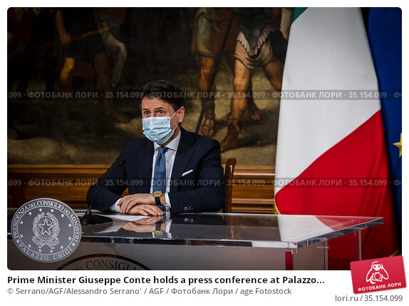 Prime Minister Giuseppe Conte holds a press conference at Palazzo... Редакционное фото, фотограф Serrano/AGF/Alessandro Serrano' / AGF / age Fotostock / Фотобанк Лори